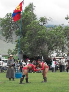 Two wrestlers in a soum (village) Naadam.