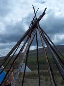 The skeleton of a teepee.