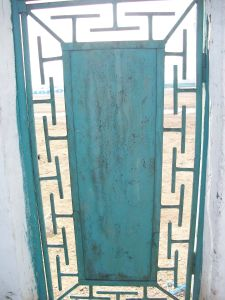 Door with hammer pattern.
