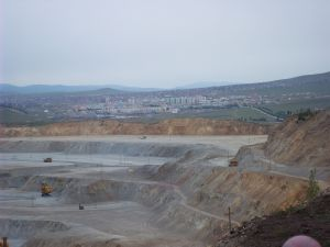View of a city from the mines.